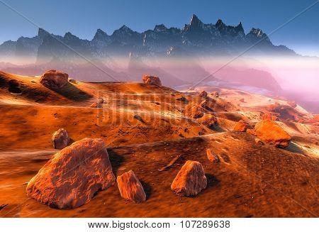 Planet Mars desert landscape