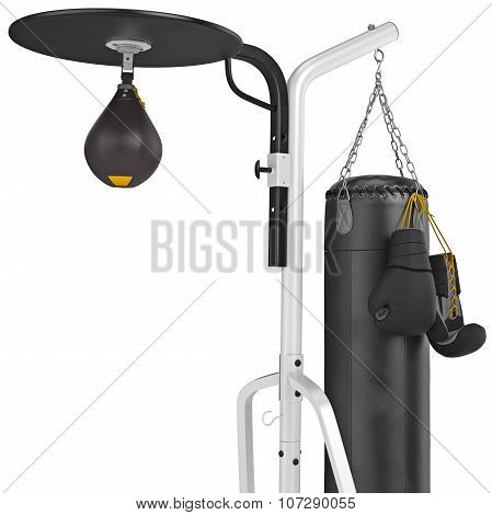Punching bag with gloves, close view. 3D graphic object on white background poster