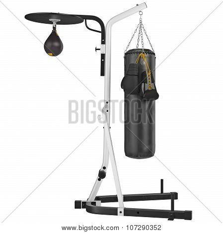 Set punching bag, side view. 3D graphic object on white background isolated poster
