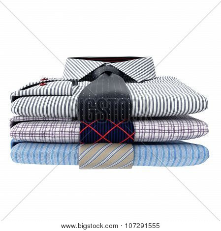 Stack of classic men's shirts and ties, front view