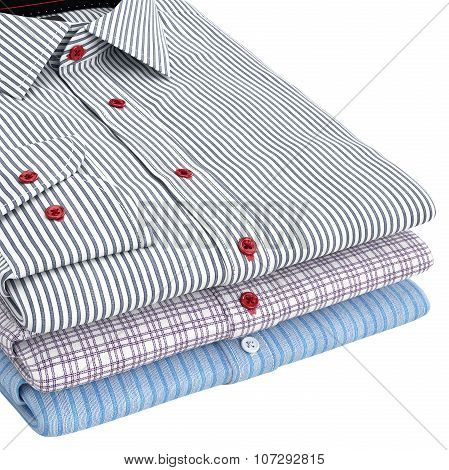 Classic men's shirts folded, zoomed view