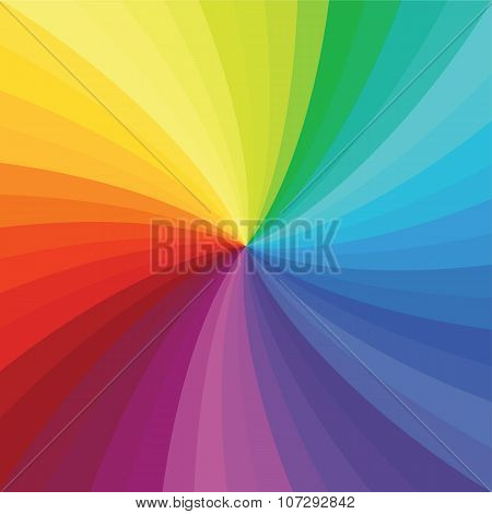 Bright Rainbow Swirl Background. Rainbow Rays Of Twisted Spiral.