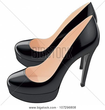 Women's black lackered shoes on high heels