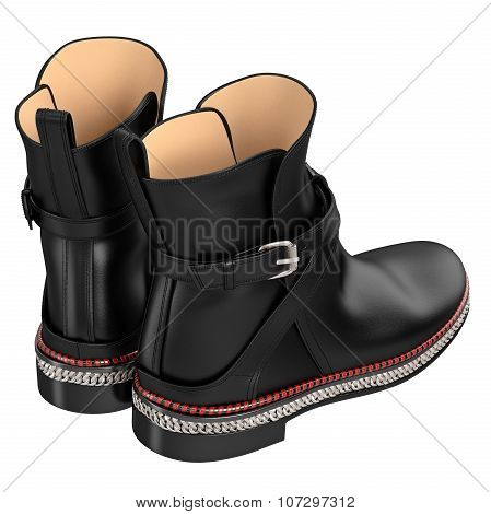Women's black patent leather boots