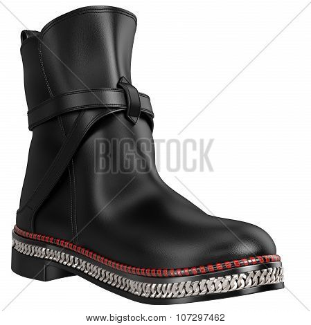 Women's leather boots with silver chain