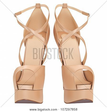 Women's beige leather sandals, front view