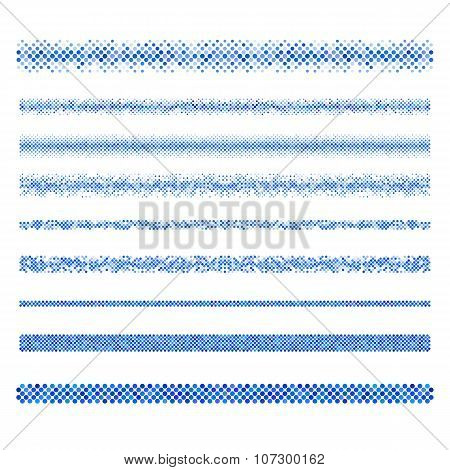 Graphic design elements - blue circle mosaic page divider line set poster
