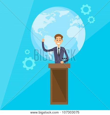International Leader President Press Conference Flat Vector Illustration poster