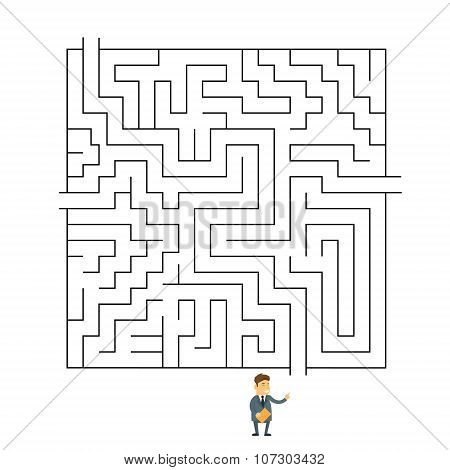 Businessman Labyrinth Choosing Path Way Challenge Flat Vector Illustration poster