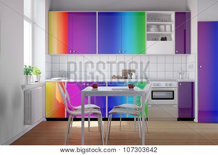 Small kitchen with clean kitchenette in rainbow colors (3D Rendering)