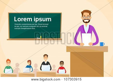 University Professor Lecture Speech Teacher College Class, Group of Students People, Business Seminar Flat Vector Illustration poster