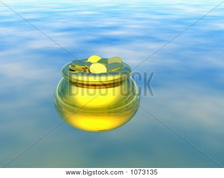 Gold Pot With Gold. 3D