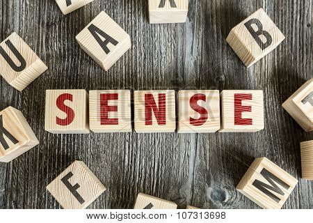 Wooden Blocks with the text: Sense