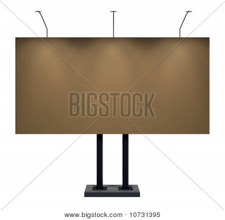 Billboard, Dark Yellow, Isolated on White with Clipping Path