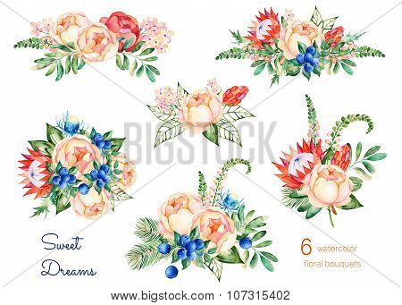 Colorful floral collection with roses,flowers,leaves,protea,blue berries,spruce branch,eryngium.6 beautiful bouquet for your design.Bouquets can be used as greeting card for birthday,wedding and so on poster