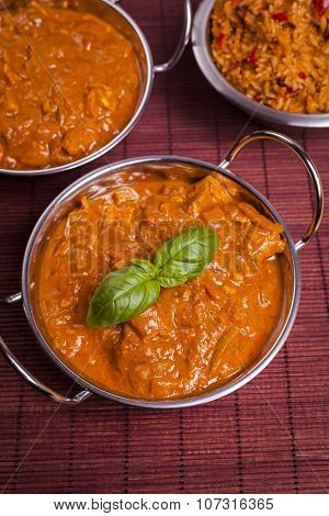 Chicken Tikka Masala Curry On Rattan Background