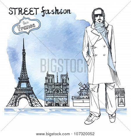 Trendy  dude.Watercolor background.Paris street fashion