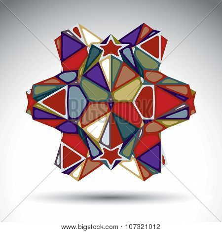Vivid dimensional abstract figure constructed from triangles stars and geometric elements. Vector kaleidoscope transform design object isolated on white background. poster