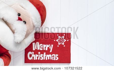 Cristmas background with Santa Claus. Red decoration. Merry Cristmas greeting card