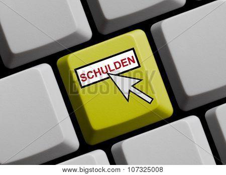 Yellow Keyboard - Debts Online German