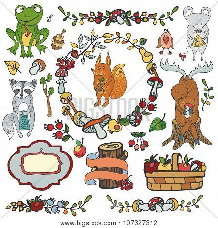 Woodland animals autumn set.Hand drawing doodle isolated decor elements, harvest basket, garland border .Vector illustration, baby style.Bird, squirrel and mouse, frog and elk, raccoon, poster