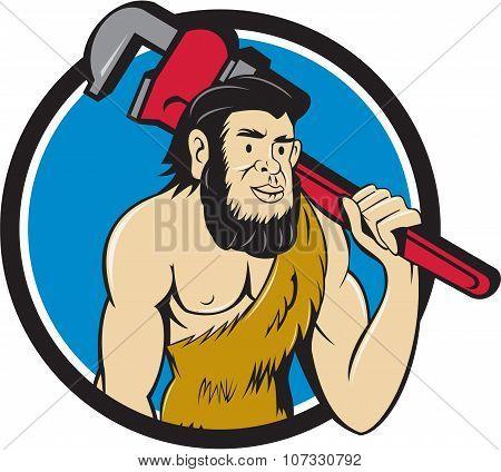 Neanderthal Caveman Plumber Monkey Wrench Circle Cartoon