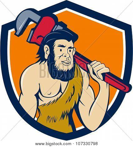 Neanderthal Caveman Plumber Monkey Wrench Shield Cartoon