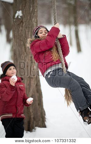 Children Playing In Winter Park