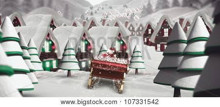 Santa flying his sleigh against quaint town with bright moon