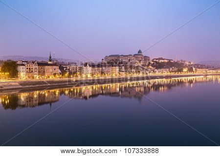 Buildings Along The River Danube In Budapest In The Early Morning