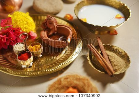 Herbal and Ayurvedic bath ritual during special and spiritual occasion. A holy hindu ritual in India.