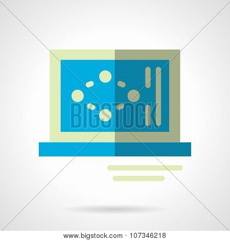 Science laptop flat color abstract vector icon