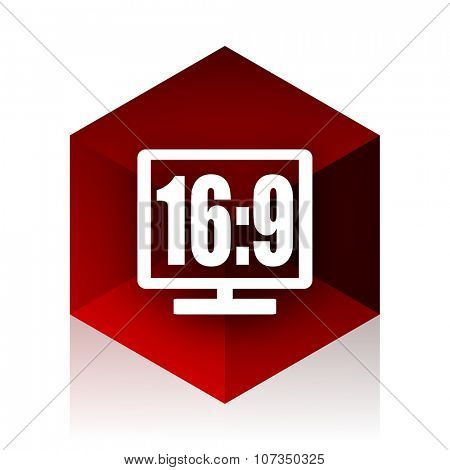16 9 display red cube 3d modern design icon on white background