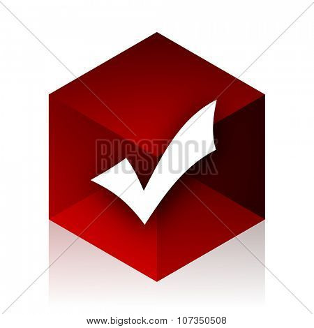 accept red cube 3d modern design icon on white background  poster