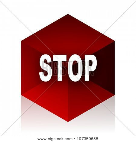 stop red cube 3d modern design icon on white background