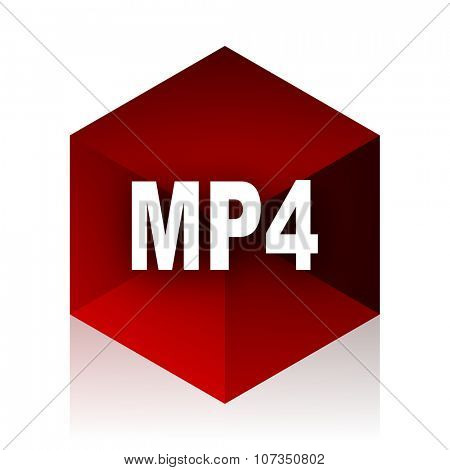 mp4 red cube 3d modern design icon on white background