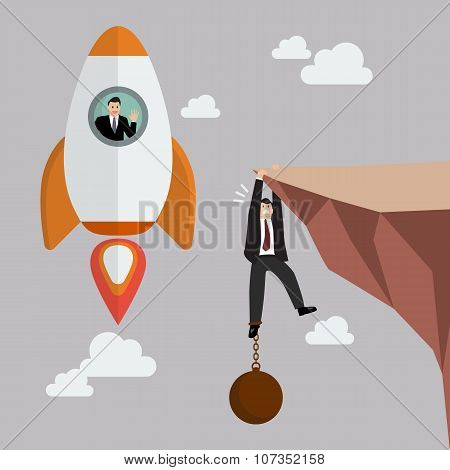 Businessman On A Rocket Fly Pass Businessman Hold On The Cliff With Burden