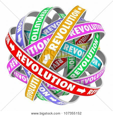 Revolution words on spiral patterns in an endless cycle to illustrate constant change and innovation