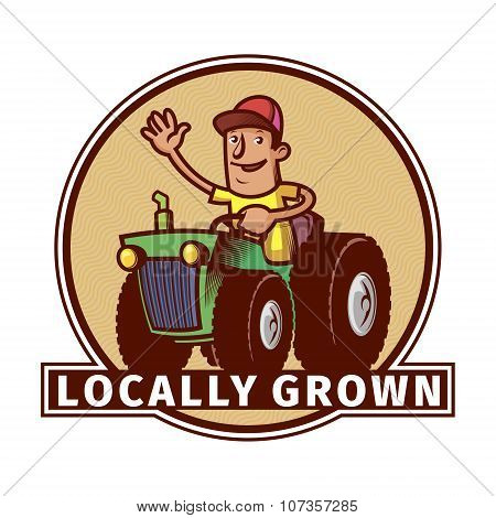 Farm Emblem With A Tractor Driver