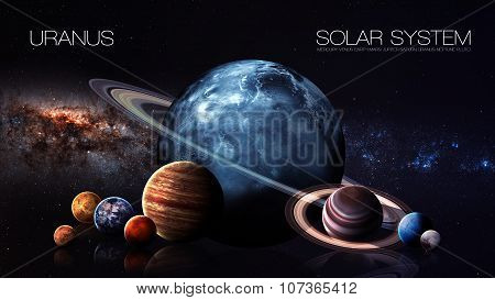Uranus - 5K resolution Infographic presents one of the solar system planet. This image elements furnished by NASA. poster
