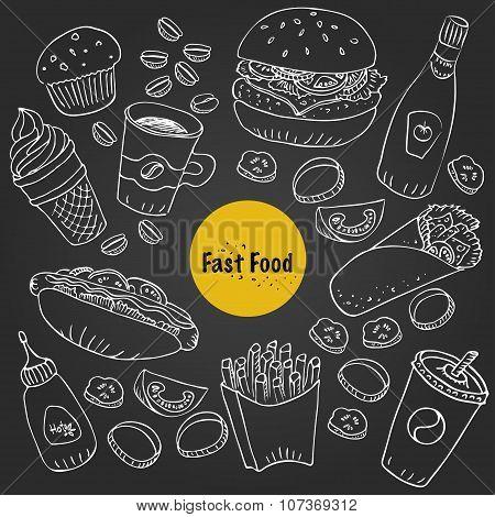 Vector Fast Food Doodle Set For Menu And Food Background
