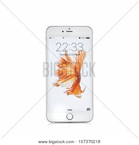 Moscow, Russia - October 06, 2015: New White Iphone 6 S Is A Smartphone Developed By Apple Inc. Appl
