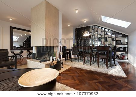 Specious Loft Apartment Interior With Fireplace