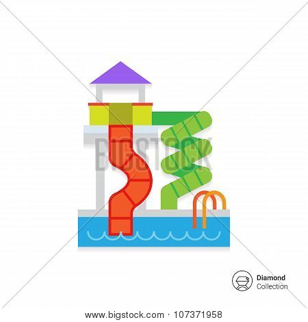 Waterpark with pool and slides
