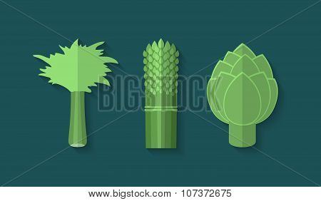 A Set Of Vegetables In A Flat Style - Celery, Asparagus And Artichoke