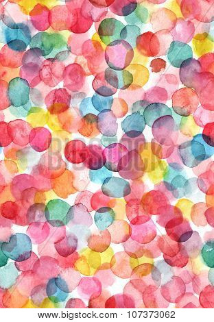 Bright Abstract Seamless Pattern With Multicolored Watercolor Dots