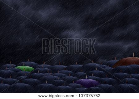 Three Color  Umbrella Mingling With Grey Umbrellas - Be Different Concept