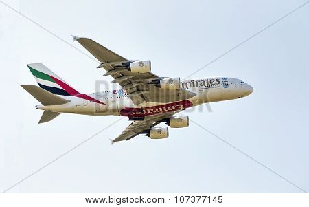 Prague - 1 July 2015: An Emirates Airbus A380 Superjumbo In Prague. The Airbus A380 Is The World's L