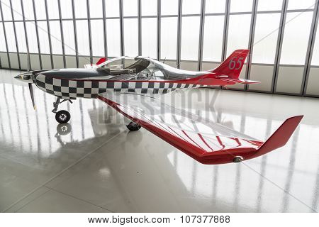 Light Airplane Parked In Hangar