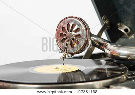 The Needle On A Gramophone Record Gramophone In Closeup